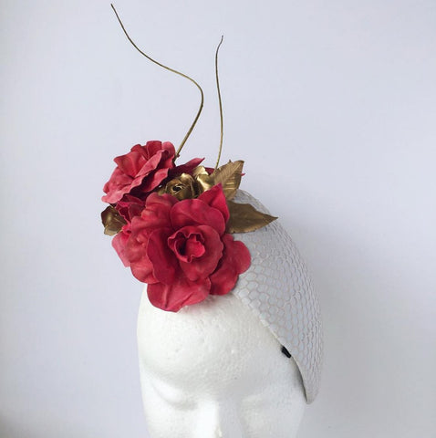 White leather and mesh hat with pink leather flower by Maker Millinery