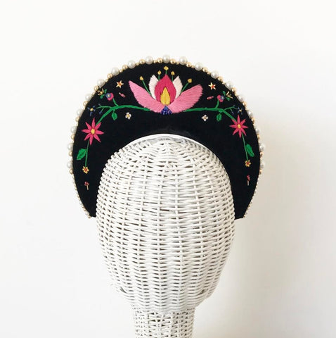 Embroidered velvet halo headpiece by Maker Millinery Kalgoorlie
