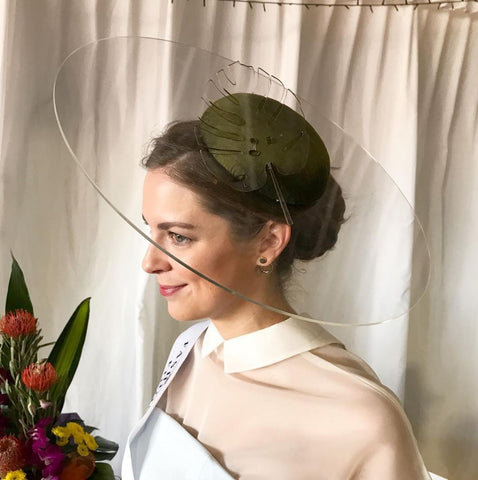 Acrylic brim hat with silk crown by Maker Millinery Kalgoorlie