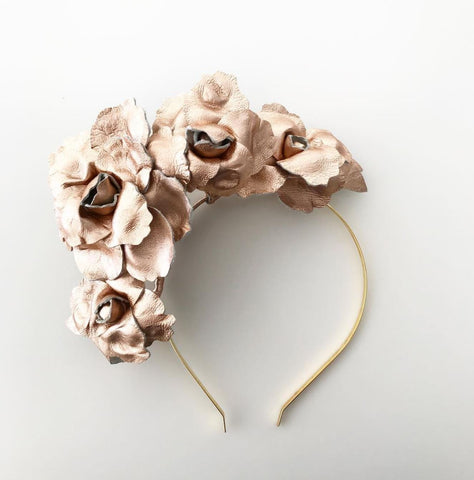 Rose gold leather flower headband by Maker Millinery Kalgoorlie