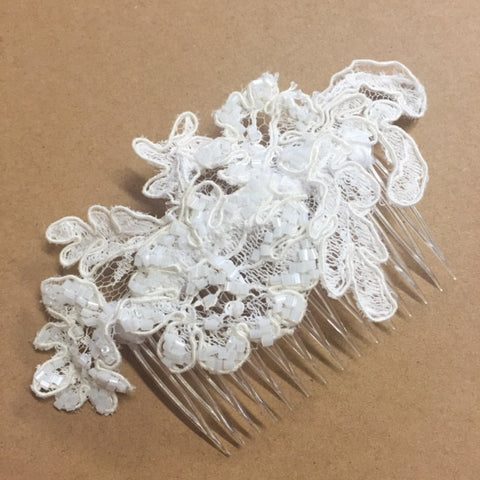 Lace beaded bridal headpiece by Maker Millinery