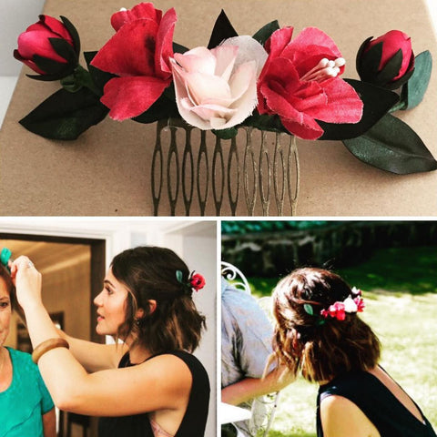 Wedding celebrant silk flower headpiece by Maker Millinery