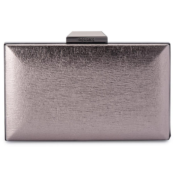 ELLE METALLIC CLUTCH - GUNMETAL