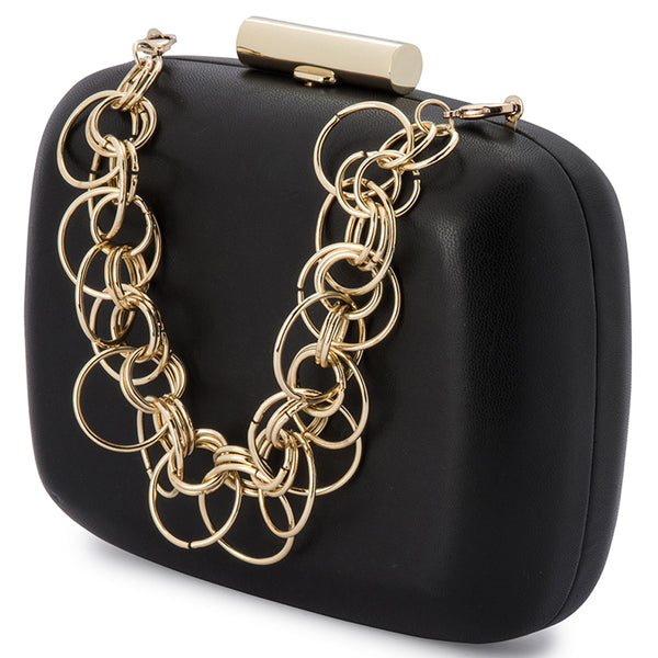 STELLA RING CHAIN CLUTCH - BLACK