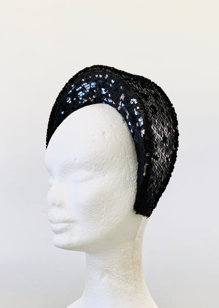Black + Gold Sequin Headband - Large