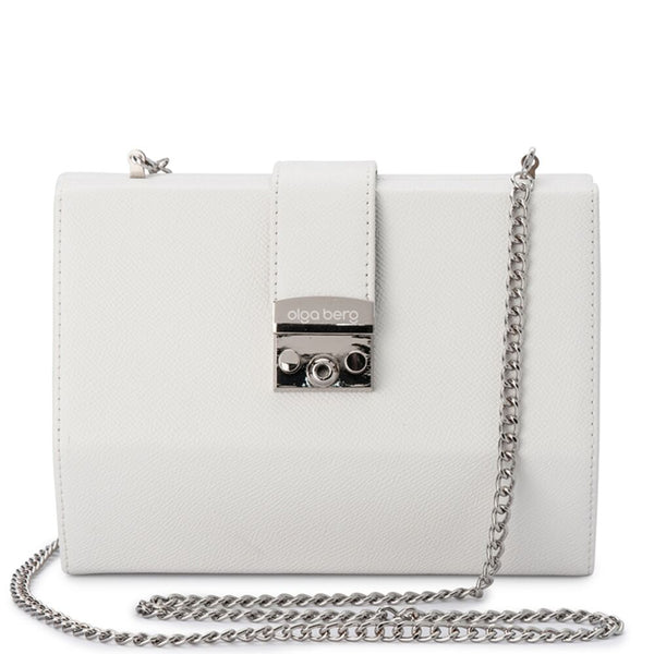 HARRIET HEXAGON CLUTCH - WHITE