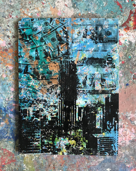 Empire Mindstate Blue NYC (2018)- Original Mixed Media Painting