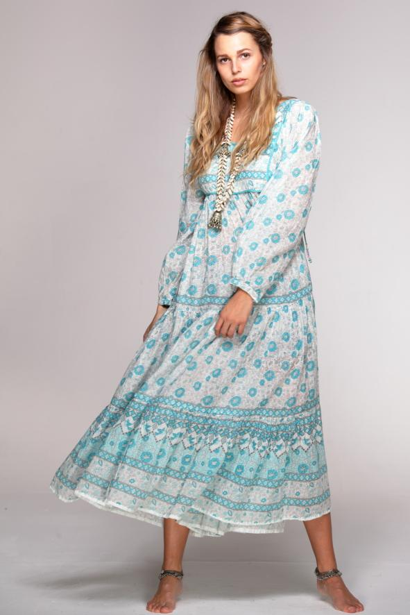 BALI Dress vintage print - Geraldine BLUE