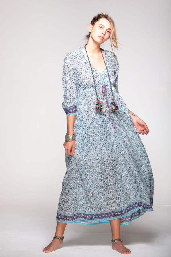 HIPPY Dress Vintage Print - Geraldine BLUE