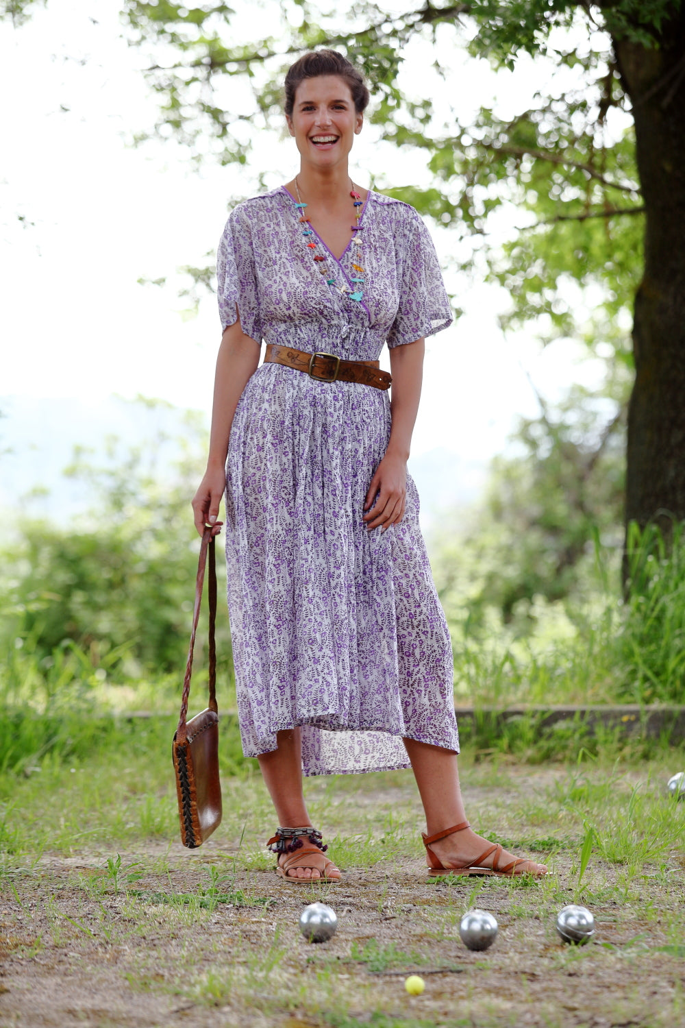 SERENA Long Dress Vintage Print