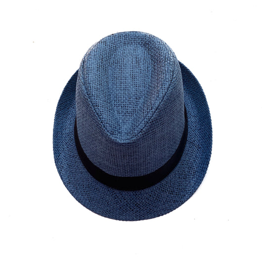 Blue boys hat with black band around it.