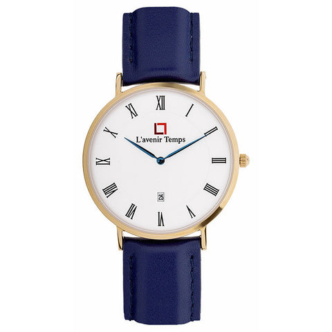 Classic Roman Rose Gold with Blue Strap