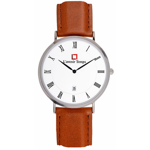 Classic Roman Silver with Light Brown Strap