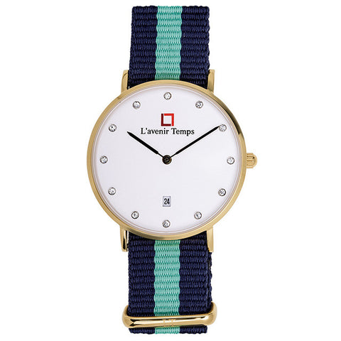 Classic Women Diamond Gold with Nato Green Strap