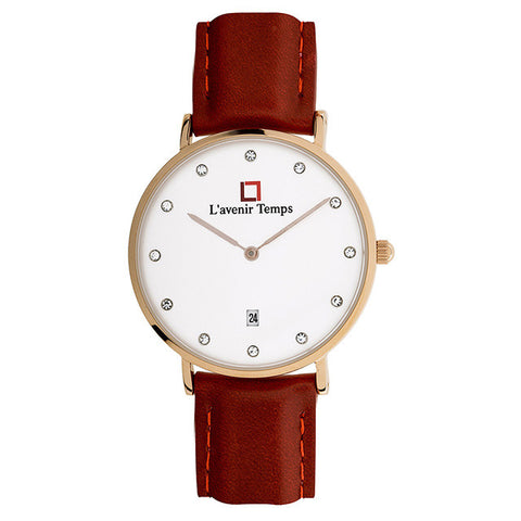 Classic Women Diamond Rose Gold with Maroon Strap