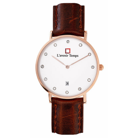 Classic Women Diamond Rose Gold with Reddish Brown Strap
