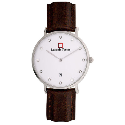 Classic Women Diamond Silver with Dark Brown Strap