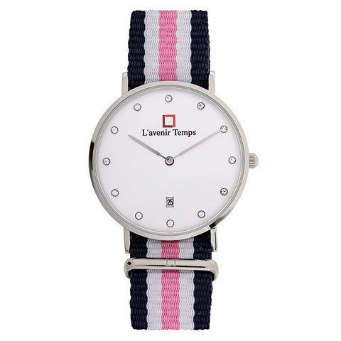 Classic Women Diamond Silver with Pink Strap