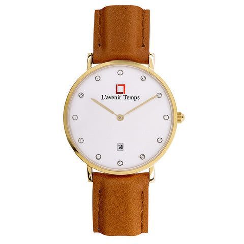 Classic Women Diamond Gold with Light Brown Leather Strap