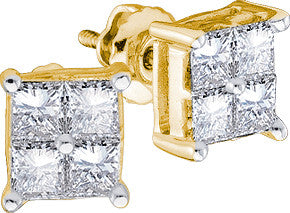 Yellow Gold Windowpane Diamond Earrings - Diana's Space