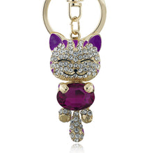 Lucky Smiling Cat Crystal Rhinestone Key Chains - Diana's Space