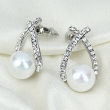 Gold Crystal Pearl Stud Earrings - Diana's Space