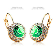 Round Stud Gold Plated With Austrian Full Crystal Earrings - Diana's Space