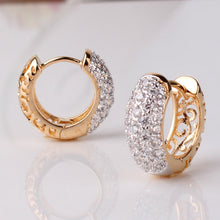 Round Crystal Earrings Gold Platinum Plated Hoop  Cubic Zirconia Earring - Diana's Space