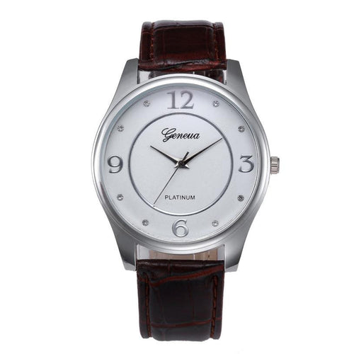 Men Leather Belt Watch Stainless Steel Quartz Wrist Watch - Diana's Space