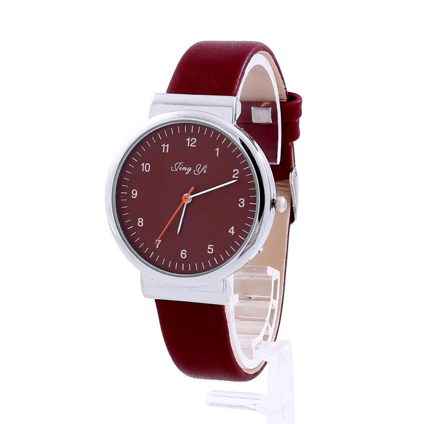 Women's Watch Roman Number Red White Quartz Leather Wrist Watch - Diana's Space