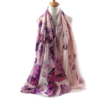 Long Chiffon Floral Style Scarves - Assorted Colors - Diana's Space