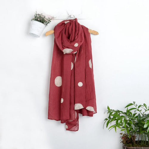 Winter Warm Scarf Men Women Dot printing Woolen Long Large Wrap Scarf Women red blue green - Diana's Space