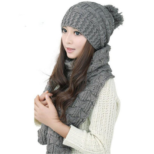 Women Warm Woolen Scarf  & Hat Set - Diana's Space