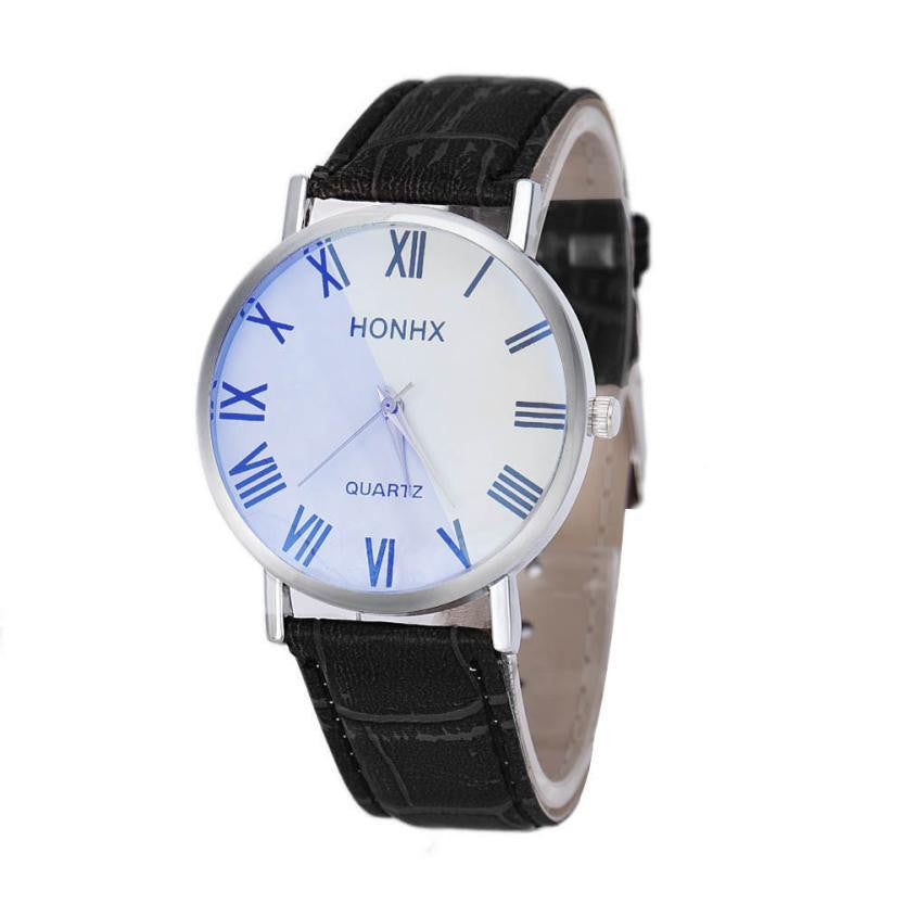 HONHX Luxury Fashion Men Leather Quartz Analog Wrist Watches Relogio - Diana's Space