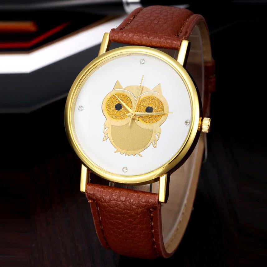 Women/ Girl Quartz Owl Watch Leather Band Clock Wrist Watches - Diana's Space