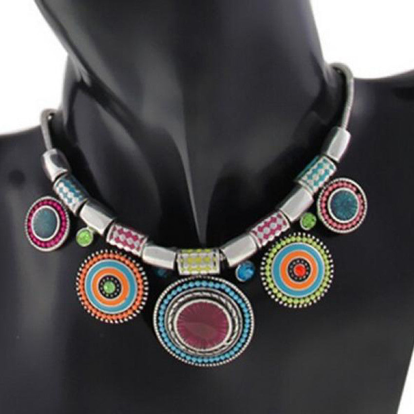 Choker Necklace Vintage Silver Plated Colorful Bead Pendant - Diana's Space