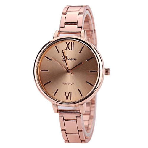 GENEVA Women Watch in Rose, Gold, or Silver Stainless Steel Quartz Analog - Diana's Space