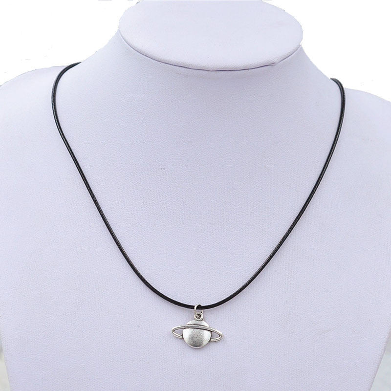 Unisex Retro Saturn Necklace Pendant Black Leather Cord Choker - Diana's Space