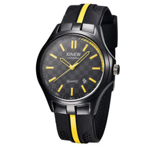 Men's Black Silicone Rubber Band Quartz Analog Sport Watch - Diana's Space