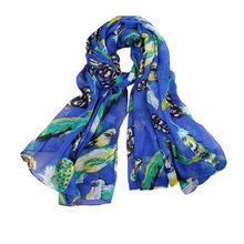Women's Silk Scarf w/ Leaves Birds Print - Diana's Space