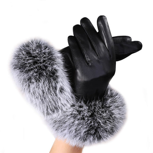 Warm  Gloves Women Lady Black Leather Gloves with Rabbit Fur - Diana's Space