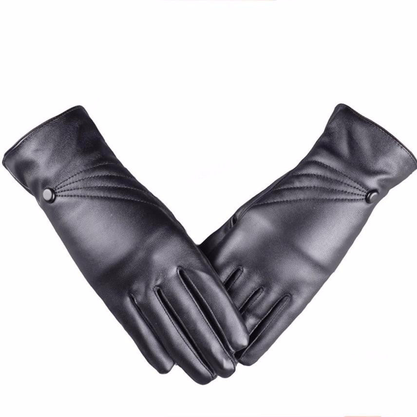 Women's  Leather Cashmere Black Gloves - Diana's Space