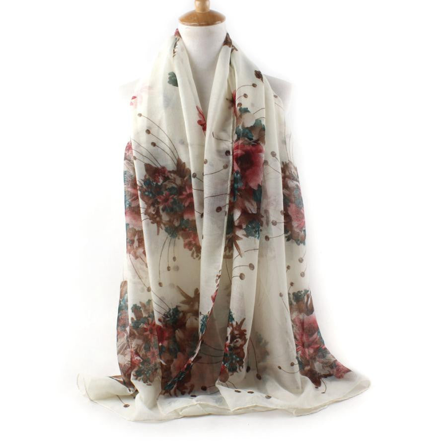 Fashion Scarf  Silk Floral Printed Scarves Large Size 90*180cm - Diana's Space