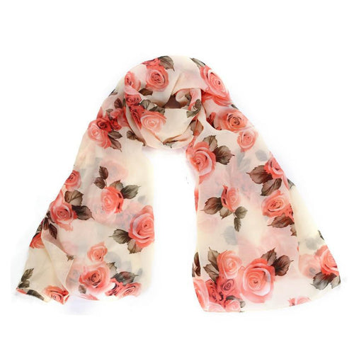 Ladies' Long Rose Print  Scarves - Diana's Space
