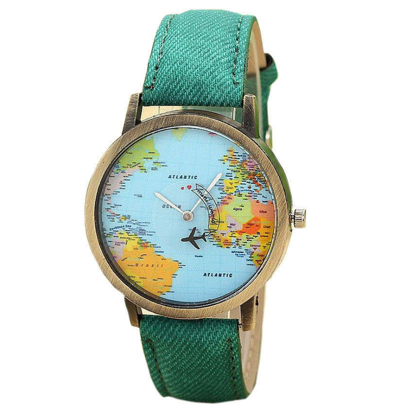 Women's Global Travel Map Denim Fabric Band Watch - Diana's Space