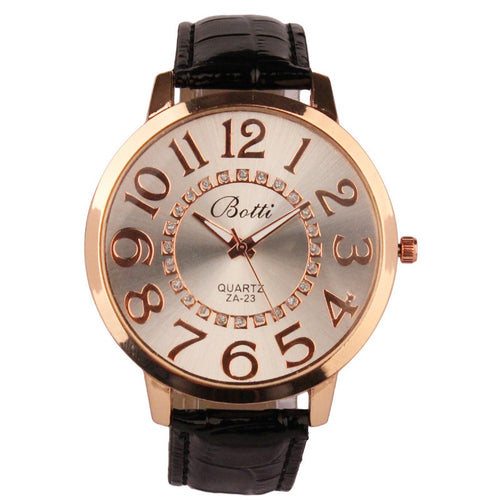 Womens Leather Quartz Royal Gold Crystal Retro Watches - Diana's Space