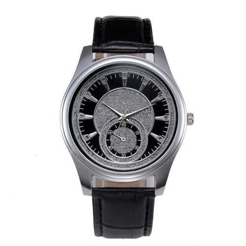 Men's Leather Stainless Steel Dial Quartz Watch - Diana's Space