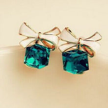 Shimmer Plated Gold Bow Cubic Crystal Rhinestone Earrings - Diana's Space