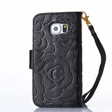 3D Brand Camellia Flower Pattern Leather Wallet Case For Samsung Galaxy S6 S6 Edge S6 Edge - Diana's Space