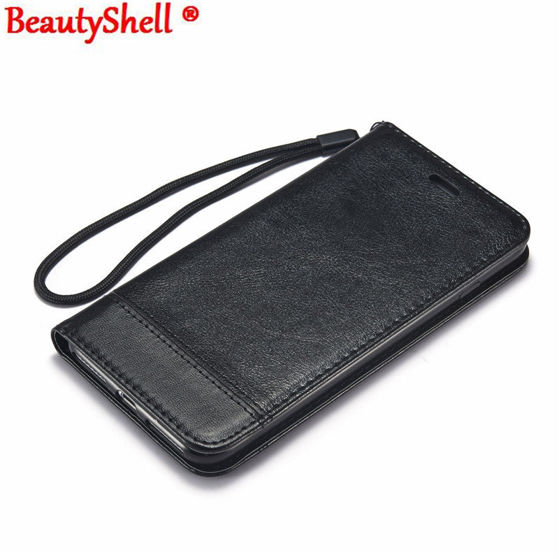BeautyShell  Leather Wallet Case With Strap Stand Flip Cover for iphone6, 6S, 7, 7Plus, 5, 5S, SE - Diana's Space
